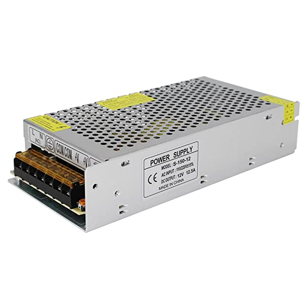 NeeKeons AC 110V-240V to DC 12V 12.5A(150W) Switching Power Supply Regulated Power Transformer Adapter for Industrial Automation, LED Strips,CCTV,Radio, Computer(12V12.5A) (Color: 12V12.5A(150W))