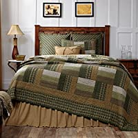 Lodge Decor Green, Tan and White Montgomery Queen Quilt 90x90