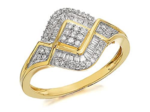 Womens Ladies Jewellery Jewelry 9ct Gold Diamond Cluster Ring - 0.33ct