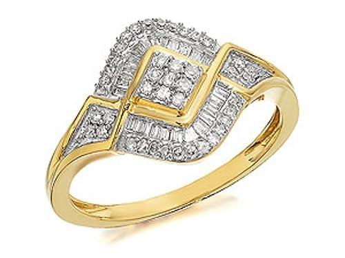 Womens Ladies Jewellery Jewelry 9ct Gold Diamond Cluster Ring - 0.33ct