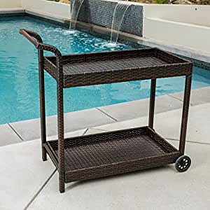 Christopher knight home outdoor savona wicker bar cart furniture decor Home bar furniture amazon