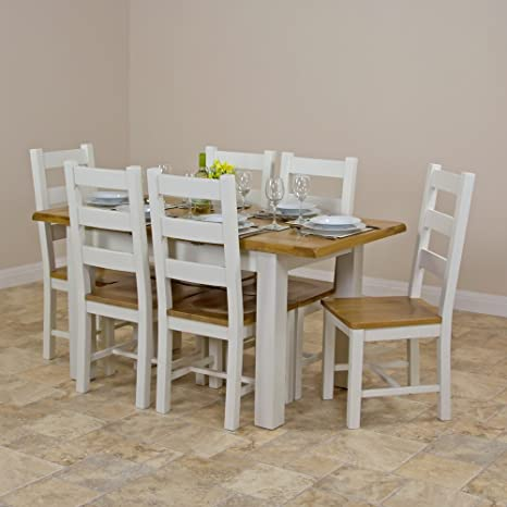 Cotswold Cream Painted Small Extending Dining Table with Oak Top and 6 Dining Chairs