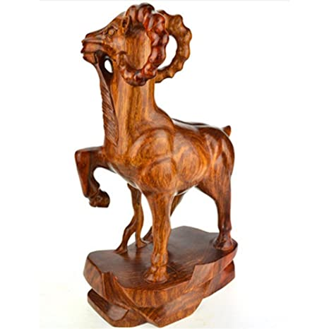 CLHK intagliati a mano in legno di artigianato cinese di arredamento regali aziendali zodiaco fengshui denaro fortunato pecore statua collezione d'arte , 21*10*36.5