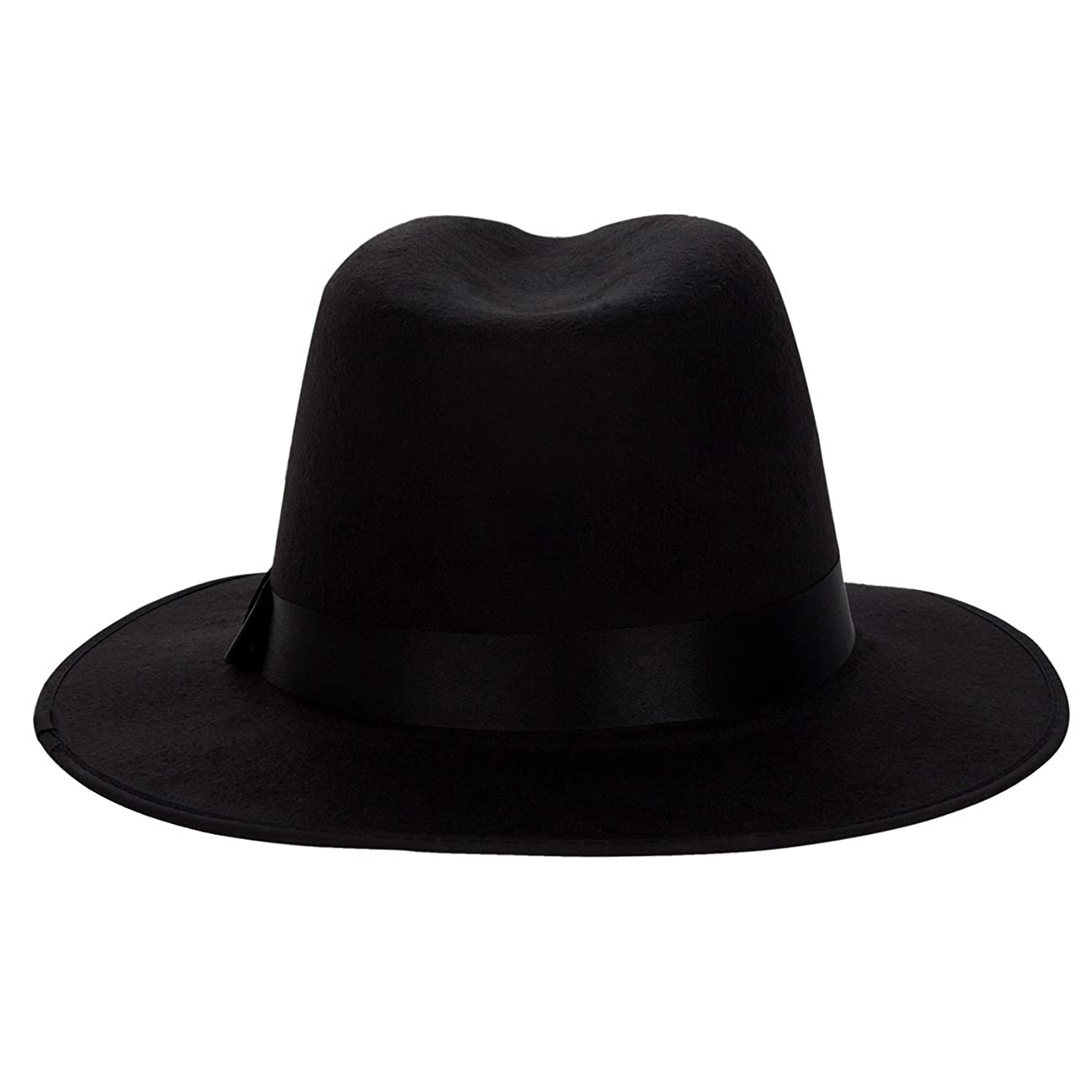 Aerusi Men's Vintage Wide Brim Hard Felt Fedora Panama Hat with Bowknot Black Ribbon 2