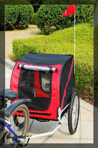 Aosom Big Pet Dog Cat Bicycle Bike Trailer and Stroller - Red / Black