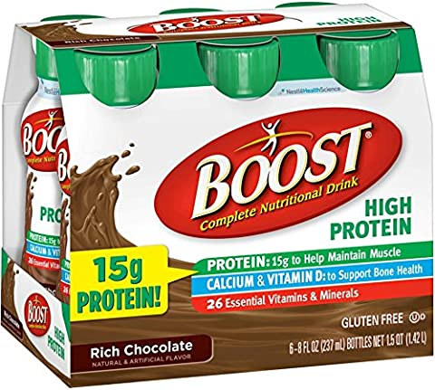 BOOST High Protein Nutritional Energy Drinks, Chocolate 8 oz, 6 ea (Pack of 10)