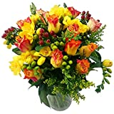 Clare Florist Rose and Freesia Fresh Flower Bouquet - Orange Roses and Yellow Freesia Mixed with Solidaster