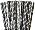 Black, White, Gray Patterned Floral Damask Paper Straw Combo-Party Supply Wedding Bridal Shower 100% Biodegradable-7.75 Inches-Pack of 75