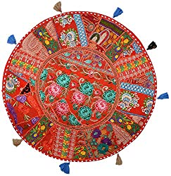 Handmade Khambadia round Cushion cover vintage gaddi throw boho bohemian pillow embroidered pillow couch cover floor cushion cu2206