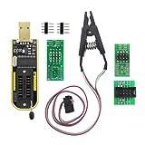 Helonge SOIC8 SOP8 Flash Chip IC Test Clips Socket Adapter Programmer BIOS + CH341A 24 25 Series EEPROM Flash BIOS USB Programmer Module (Double Clip+ USB)