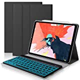iPad Keyboard Case for New 2018 iPad Pro 11 inch, Slim Fit Protective Auto Sleep Wake Smart Cover with Detachable Wireless Bluetooth Keyboard for iPad Pro 11 inch (Black) (Color: Black)