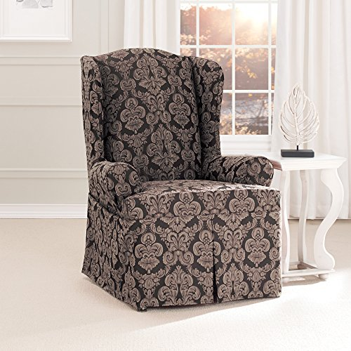 Sure Fit Middleton Wing Chair Slipcover, Black front-931510