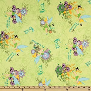 Tinkerbell Cute Lime Fabric