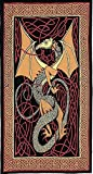 Red Dragon & Celtic Knot Indian Bedspread, Twin Size