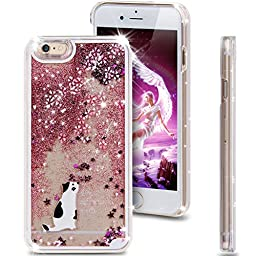 iPhone 6S Plus Case,iPhone 6 Plus Case,ikasus [Slim Fit] Pink Cherry Blossom Rabbit [Flowing Liquid] Floating Bling Glitter Sparkle Stars Hard Case for iPhone 6S Plus / iPhone 6 Plus,Cherry Blossom #2