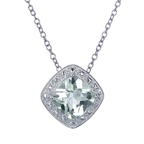 Cushion Cut Green Amethyst Pendant In Sterling Silver With 18