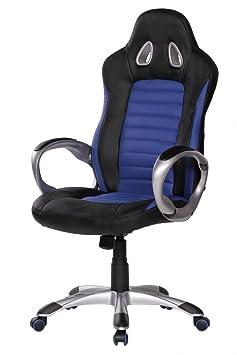 finebuy xxl racer b rostuhl chefsessel drehstuhl leder optik schwarz blau dee296. Black Bedroom Furniture Sets. Home Design Ideas