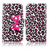 Fashion Cute Cartoon Pattern Bow Bowknot Leopard Print Wallet Flip Case Folio PU Leather Stand Cover with Card Slots for Nokia Lumia 630 635 ( Not Fit for Smooth Back Cover Version ) + Free Lovely Gift