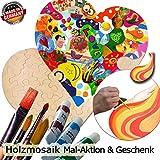 Holzmosaik Hochzeitspuzzle - PORTOFREI inkl. Hochzeitsbuch gratis - kreative Hochzeitsspiele zum Bemalen Set inkl. Farben und Pinsel - Holzpuzzle zur Hochzeit