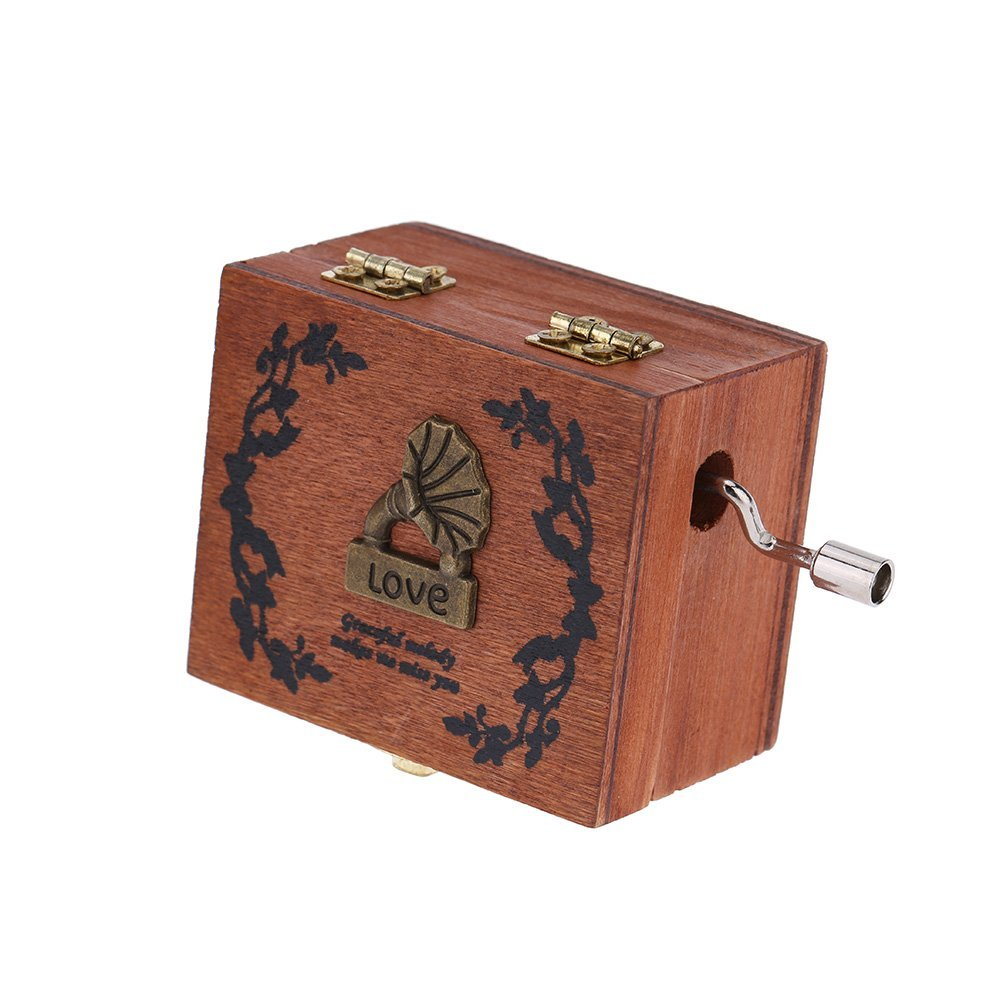 Exquisite Hand Crank Musical Box Retro Vintage Wooden Music Box 4 Different Patterns for Option Beautiful Decorative Patterns 0