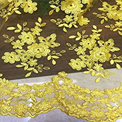 Organza sand lace embroidery Water soluble lace embroidery Embroidery lace (Yellow)