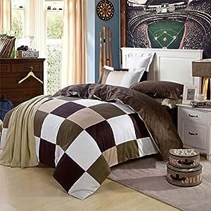 qzzielife baumwolle bettwaesche dessin 240 x 220 cm 40 x 80 cm braun k che haushalt. Black Bedroom Furniture Sets. Home Design Ideas