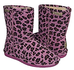 BEARPAW Girl\'s Emma Youth Shearling Boots 608-Y (1, Pink Leopard)