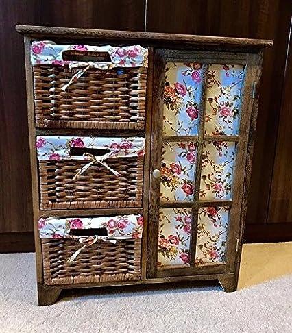 castagno legno armadio, camera da letto, di alta qualità in vimini rattan floreale attira