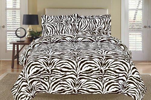 Zebra Black And White Down Alternative Comforter Set King front-1025697