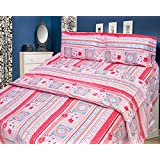 Cosmosgalaxy Cotton Double Bedsheet With Pillow Covers - Queen Size, Multicolor - B00SWKNVTC