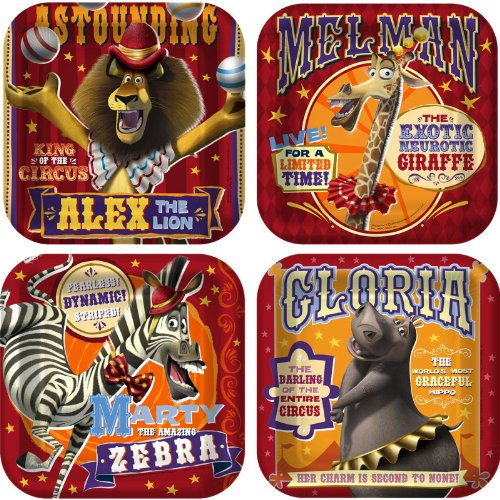 Madagascar 3 Square Dessert Plates (8) Party Accessory