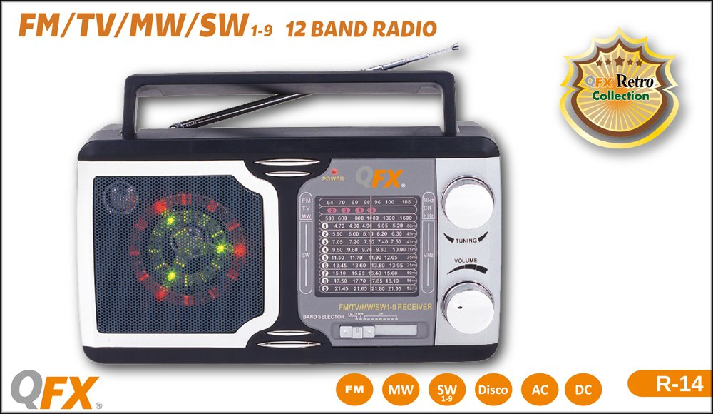 QFX R14 Retro Collection AM/FM/SW 1-9 Radio 1