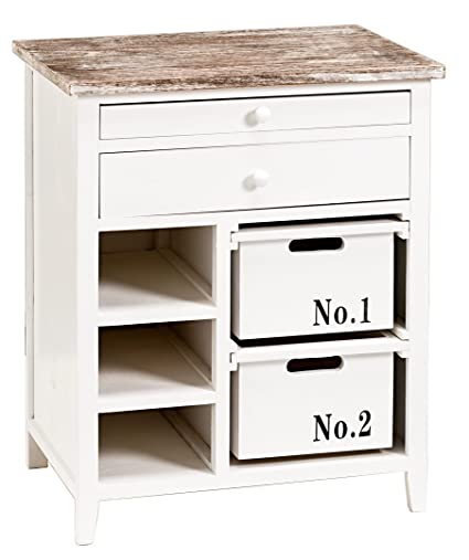 condecoro Schrank - Cabinett - mit Schubladen in weiß Shabby Landhaus Kommode