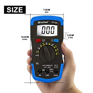 Holdpeak HP-36K Multimeter, 4000 Counts Digital Multimeter with Ohm Volt Amp and Diode Voltage Tester,hFE,AC/DC Voltage & Curent,Resistance,Capactianc
