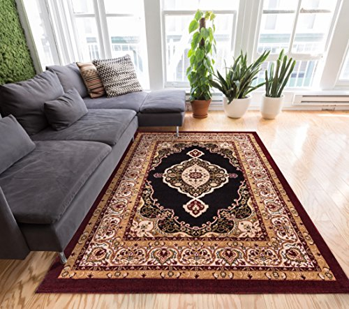Sephan Black & Red Traditional Oriental Sarouk Medallion 5x7 (5' x 7'2'') Area Rug Modern Floral Easy Care & Cleaning Shed Free Carpet