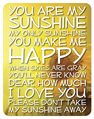 Lake House Products 14 x 18-Inch Wood You Are My Sunshine Sign, Yellow Background/White Font