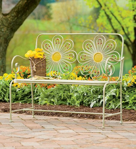 Retro Iron Flower Garden Bench With Distressed Finish