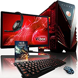 "VIBOX Warrior Package 4XS - Fast 4.0GHz 6-Core, High Spec, Desktop Gaming PC, Computer with WarThunder Game Bundle Complete Full Package Including: 22"" Monitor, Headset, Gamer's Keyboard & Mouse Set AND a Neon Red Internal Lighting Kit PLUS a Lifetime Warranty Included* (AMD FX 6300 Six Core Processor, 2GB AMD Radeon R9 270 HDMI Graphics Card, High Grade 500W PSU, 2TB Hard Drive, 16GB 1600MHz RAM, Memory Card Reader, No Operating System)"