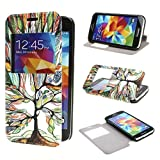 Leathlux View Window Painting Art Tree Style Design PU Leather Flip Stand Case Cover for Samsung Galaxy S5 mini SM G800