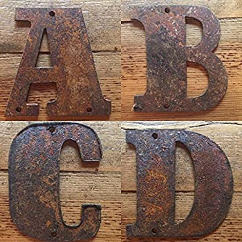 "Rusty Metal Letters - Predrilled - 4"" tall for Art, Sign, Decor - Make your own GIFTS and ART! DIY!"