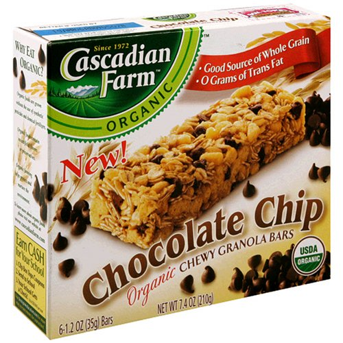 Cascadian Farms Organic Chewy Granola Bar, Chocolate Chip, 6-Count Boxes (Pack of 6)
