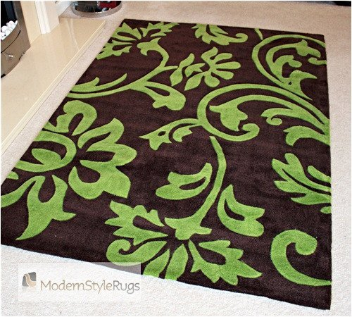 Brown And Green Damask Modern Home Floor Rug - AVAILABLE IN 4 SIZES, 120cm x 180cm (4ft 0'' x 6ft 0'')
