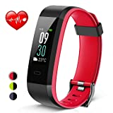 Heetik Fitness Tracker, Activity Tracker with Heart Rate/Sleep Monitor Healthy Tracker IP68 Waterproof Smart Wristband with Calorie Step Counter Color Touch Screen Watch For Women Men (Color: Black&Red)