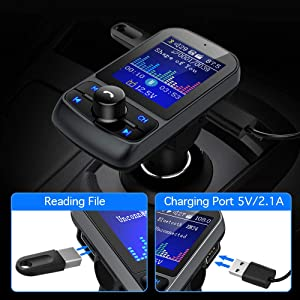 FM Transmitter, Nulaxy 1.8 Color Screen Bluetooth FM Transmitter Wireless in-Car Radio Adapter w/Car Battery Voltage Reading, Handsfree Calling, USB Drive, TF Card, AUX, EQ Mode - KM34, Black (Color: Black)
