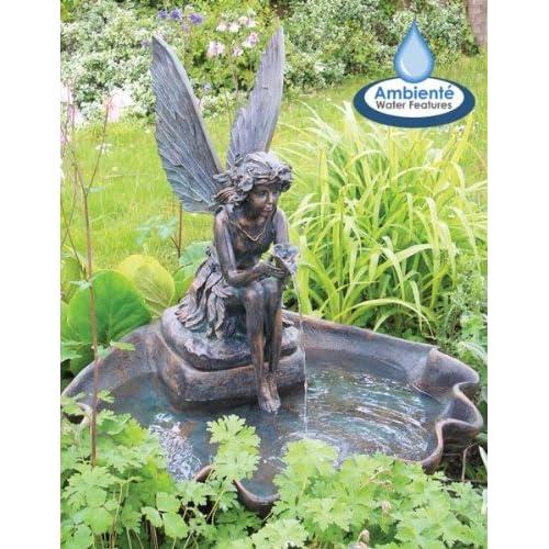 Mini fairy on clamshell solar water feature - Decorations exterieures de jardin ...