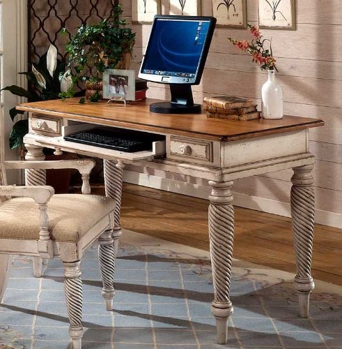 Buy Low Price Comfortable Computer Desk with Spire Design in Antique White Finish (B0059EW08M)