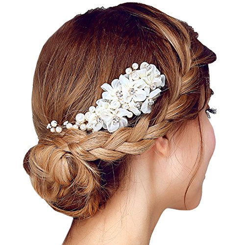 FAYBOX Tulle Flower Silver-tone Beading Simulated Pearls Bridal Hair Combs Wedding Hair Accessories A