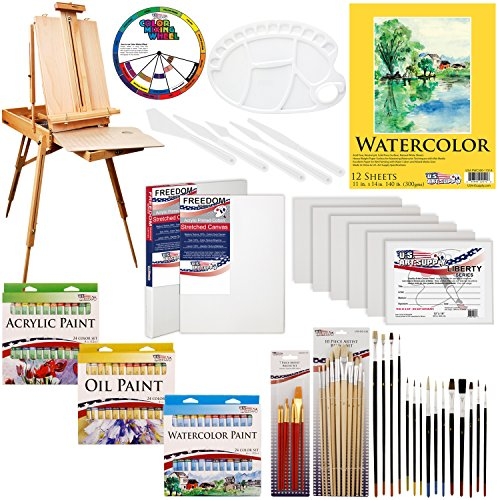 US ART SUPPLY 121-Piece Custom Artist Painting Kit with Coronado Sonoma Easel, 24-Tubes Acrylic Colors, 24-Tubes Oil Painting Colors, 24-tubes Watercolor Painting Colors, 2-each 16″x20″ Artist Quality Stretched Canvases, 6-each 11″x14″ Canvas Panels, 11″x14″ Watercolor Paper Pad, 10-Natural Hair Bristle Paint Brushes, 7-Nylon Hair Paint Brushes, 15-Multipurpose Paint Brushes, Trowel, Pallete Knife, 17-Well Paint Mixing Pallete