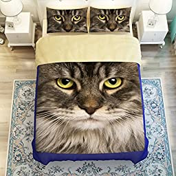 EsyDream Home Bedding Sets,3D Printing Cat Bedding Sheet Sets,Animal Cute Cat Kids Duvet Cover 100% Polyester Cat Bedlinen (No Comforter),Twin Size