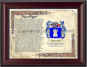 Macelligott Coat of Arms/ Family Crest on Fine Paper and Family History